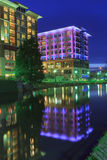 Illuminated Buildings Downtown Greenville SC Stock Photo