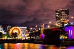 Illuminated Buildings at Night Stock Photo
