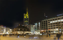 Illuminated buildings and skyline at night during Luminale  in F Stock Photography