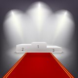 Illuminated business winners podium with red. Illuminated business winners podium in dark room with red carpet.. Vector illutration Royalty Free Stock Photo