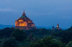 Illuminated That Byin Nyu monastery at night, Bagan, Mandalay, M Stock Photography
