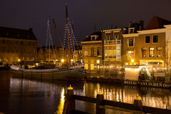 Illuminated canals in Holland. During Christmas Time Stock Photo