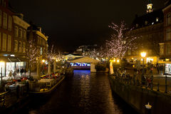 Illuminated canals in Holland. During Christmas Time Royalty Free Stock Photos