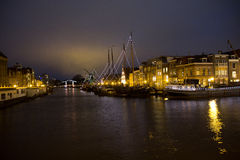 Illuminated canals in Holland ,Christmas Time. Illuminated canals in Holland during Christmas Time Royalty Free Stock Photo