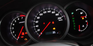Illuminated Car Dashboard Stock Photos