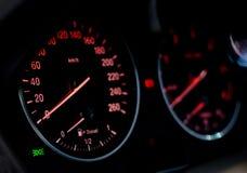 Illuminated car dashboard Stock Image