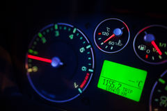 Illuminated car dashboard Royalty Free Stock Images