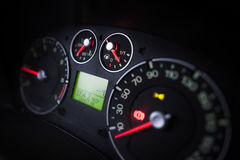 Illuminated car dashboard Stock Photography