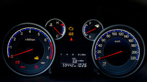 Illuminated car dashboard Stock Images