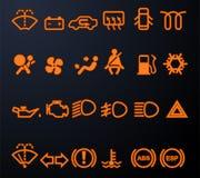 Illuminated car dashboard icons Royalty Free Stock Photography