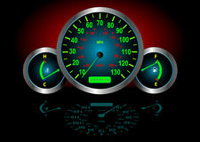 Illuminated car gauges Royalty Free Stock Photo