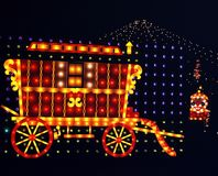 Illuminated caravan, Walsall, England. Caravan at the Walsall Arboretum annual illuminations display, Walsall, West Midlands, England, UK, Western Europe Royalty Free Stock Image