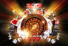 Illuminated Casino Games. Shiny Illuminated Casino Concept Illustration on Black Background. Lucky Casino Games Concept stock illustration