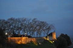 Illuminated Castle. Castle illuminated at dusk, winter, January 2017 - Portas do Sol - Santarém - Ribatejo - PortugalAnoitecer nas Portas do Sol numa tarde de Royalty Free Stock Images