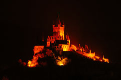 Illuminated Castle Cochem. By Night, Germany Stock Photo