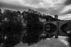 Illuminated Castle and University in Durham, UK. Popular landmarks royalty free stock photo