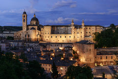 Illuminated Castle Urbino Italy Royalty Free Stock Image