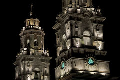 Illuminated Cathedral, Mexico Stock Photography