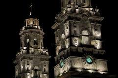 Illuminated Cathedral, Mexico Stock Photography