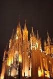 Illuminated cathedral at night royalty free stock image
