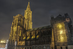 Illuminated cathedral of Strasbourg, France - HDR. The majestoc cathedral of Strasbourg (France, Alsace) on a December night Stock Photo