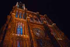 Illuminated cathedral of Strasbourg Royalty Free Stock Photos