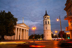 Illuminated Cathedral of Vilnius, Lithuania at night Royalty Free Stock Photo