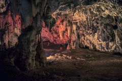 Illuminated cave at the Wondercave in the Lion and Rhino Park, South Africa royalty free stock photos