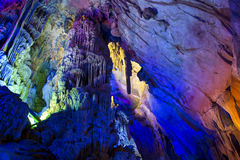 Illuminated cavern in Guilin. China royalty free stock images