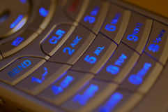 Illuminated Cell Phone Keypad Stock Photos