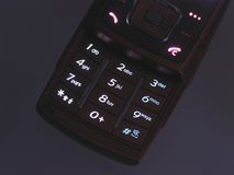Illuminated cell phone keypad Royalty Free Stock Photography
