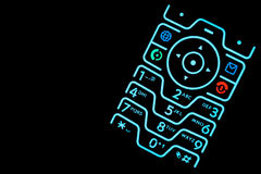 Illuminated Cell Phone Keypad Stock Photography