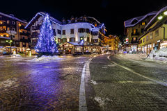 Illuminated Central Square of Madonna di Campiglio Stock Photos