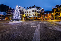 Illuminated Central Square of Madonna di Campiglio Stock Images