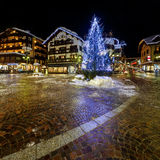 Illuminated Central Square of Madonna di Campiglio Royalty Free Stock Photography