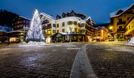 Illuminated Central Square of Madonna di Campiglio Stock Photography