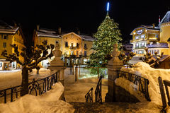 Illuminated Central Square of Megeve on Christmas Eve Royalty Free Stock Image