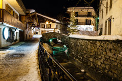 Illuminated Street of Megeve in French Alps Stock Photo