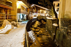 Illuminated Central Street of Megeve Royalty Free Stock Image
