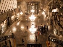 Illuminated Chapel of Saint Kinga in Wieliczka salt mine near Krakow, Poland, Europe.  Stock Photography
