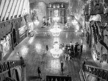 Illuminated Chapel of Saint Kinga in Wieliczka salt mine near Krakow, Poland, Europe. Black and white image Stock Photo