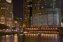 Illuminated Chicago. At Night. City Life Chicago. Night Photography of Chicago, Illinois, U.S.A. Illuminated Downtown Chicago. Cities Photography Collection Royalty Free Stock Images