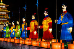 Illuminated Chinese Soldiers. An illuminated Chinese soldier display at Longleat's Festival of light, UK Stock Photos