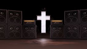 Illuminated Christian Cross with Speakers royalty free illustration