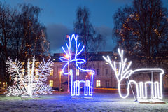 Illuminated Christmas decoration in the early morning. Klaipeda city center, Lithuania. Royalty Free Stock Photos