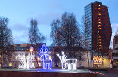 Illuminated Christmas decoration in the early morning. Klaipeda city center, Lithuania. Royalty Free Stock Images
