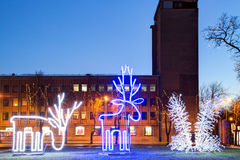 Illuminated Christmas decoration in the early morning. Klaipeda city center, Lithuania. Royalty Free Stock Image