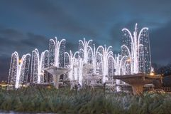 Illuminated christmas decoration in fountain on the Kosciuszko Square in Gdynia, Poland. Close-up for illuminated christmas decoration in fountain on the Stock Image