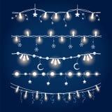 Illuminated christmas garland set Stock Images