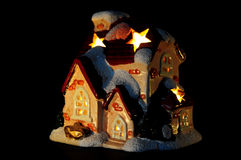 Illuminated christmas house Royalty Free Stock Photo
